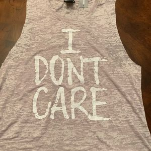 """Wet Seal graphic """"I don't care"""" tank top"""